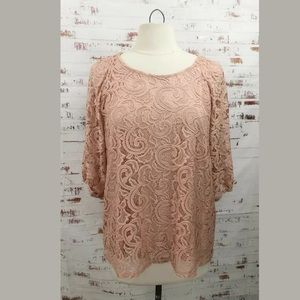 Adrianna Papell Lace Top Peachy Pink 3/4 Sleeve